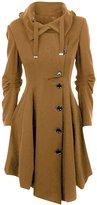 Azbro Women's Winter Wool Blend Hooded Cape Cloak Coat, L