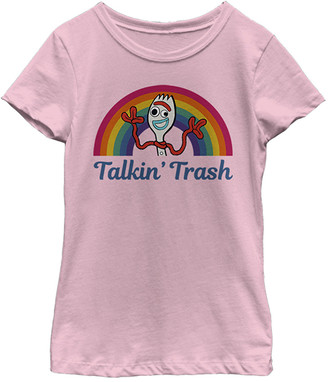 Fifth Sun Girls' Tee Shirts PINK - Toy Story Pink Forky 'Talkin' Trash' Fitted Tee - Girls