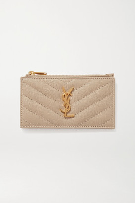Saint Laurent Monogramme Small Quilted Textured-leather Wallet - Off-white