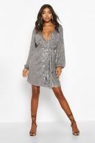 boohoo Tall Belted Sequin Blazer Dress