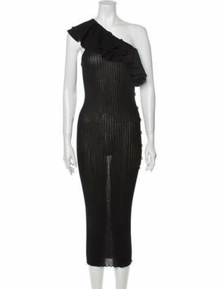 Balmain One-Shoulder Midi Length Dress Black