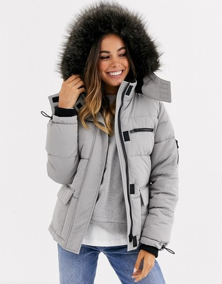 New Look ski puffer jacket in pale gray