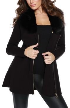 Belldini Women's Black Label Faux Fur Collar Zip Up Cardigan