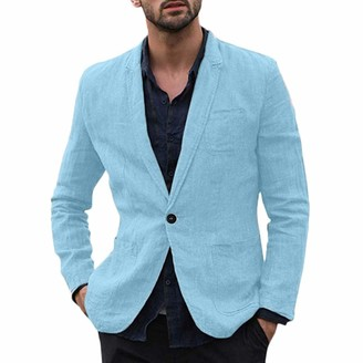 Goosun Clothing Men's Linen Cotton Mix Blazer Tracksuit Jacket Slim Fit Suits Linen Solid One Button Lightweight Coat Jackets Goosun Long Sleeve Comfortable Suits Blazer Jacket Outwear Sky Blue