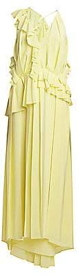 Victoria Beckham Women's Asymmetric Ruffle Silk Midi Dress