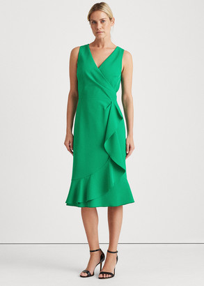 Ralph Lauren Ruffle-Trim Crepe Dress