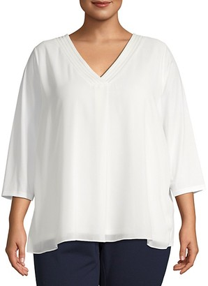 Calvin Klein Plus Chiffon Long-Sleeve Top