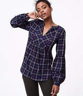 LOFT Plaid Lantern Sleeve Tunic Shirt