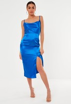 Missguided Blue Satin Cowl Neck Midi Dress