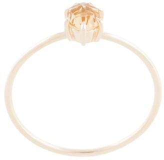 Natalie Marie Tiny Rose Cut Ring with Honey Quartz