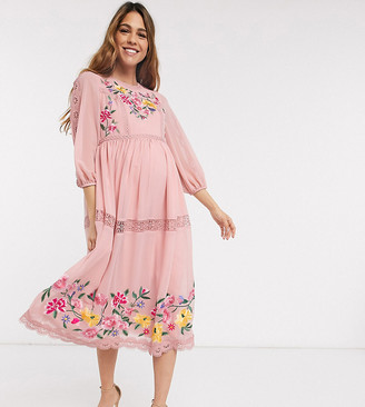 ASOS DESIGN Maternity embroidered midi skater dress with lace trims and puff sleeves in soft pink