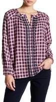 Jag Jeans Casper Embroidered Plaid Blouse