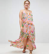 Asos New Retro Print Pom Pom Trim High Low Hem Maxi Beach Dress