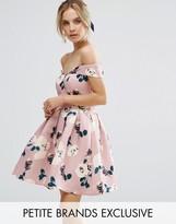 Chi Chi London Petite Chi Chi Petite All Over Floral Printed Bardot Prom Dress