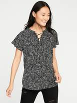 Old Navy Lace-Up Neck Paisley Blouse for Women