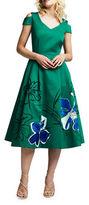 Kay Unger Faille Cold-Shoulder Tea-Length Dress