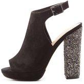 Charlotte Russe Glitter Heel Peep Toe Slingback Platform Sandals