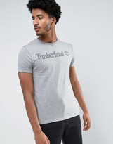 Timberland Plastisol Chest Logo T-shirt Slim Fit In Grey Marl