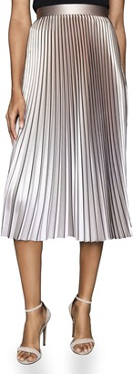 Reiss Betty Metallic Pleated Skirt