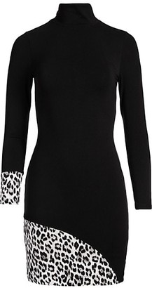 Alice + Olivia Delora Long-Sleeve Turtleneck Mini Dress