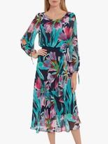 Gina Bacconi Iliar Chiffon Floral Print Midi Dress, Navy/Pink