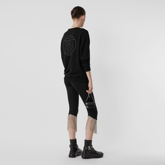 Burberry Crystal Monogram Motif Cotton Oversized Sweatshirt