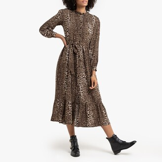 La Redoute Collections Leopard Print Midi Dress with Ruffles and Tie-Waist