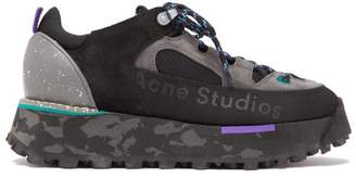 Acne Studios Berton Platform Suede And Mesh Trainers - Womens - Black