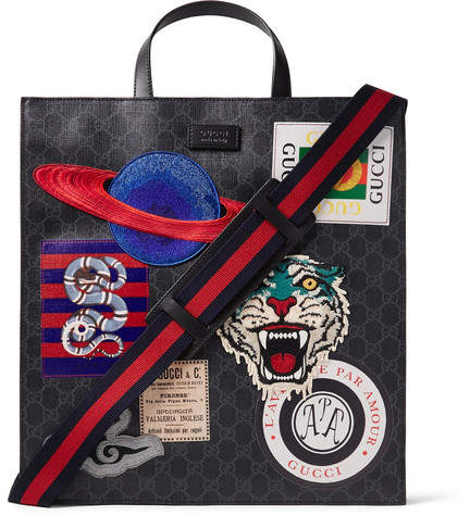 Gucci Courrier Leather-Trimmed Appliquéd Monogrammed Coated-Canvas Tote Bag