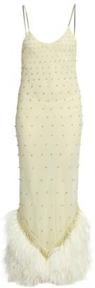 ATTICO Ostrich & Swarovski Crystal Slip Dress