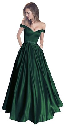 Stillluxury Satin Ball Prom Dress with Pockets Off Shoulder Long Evening Gowns Beaded Waist Hunt Green Size 8