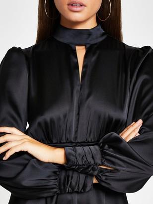 River Island Satin Split Front Waisted Mini Dress - Black