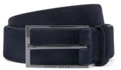 HUGO BOSS Soft Suede Leather Belt With Polished Gunmetal Pin Buckle - Dark Blue