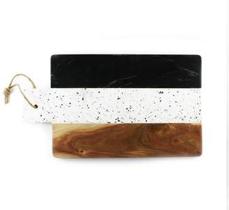 Thirstystone Industrial Luxe Acacia Wood, Marble & Terrazzo Rectangular Paddle Serving Board