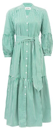 Cefinn Tie-sash Striped Cotton-poplin Dress - Green White