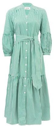 Cefinn - Tie-sash Striped Cotton-poplin Dress - Womens - Green White
