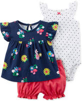 Carter's 3-Pc. Cotton Bodysuit, Shirt & Shorts Set, Baby Girls