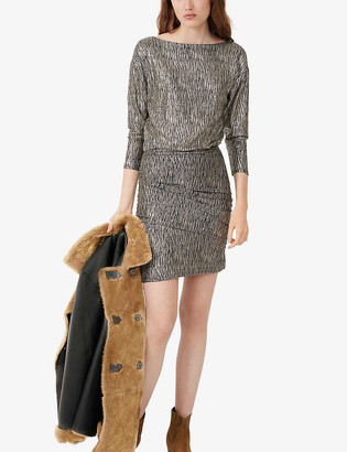 Maje Rilexy animal-print metallic stretch-woven mini dress