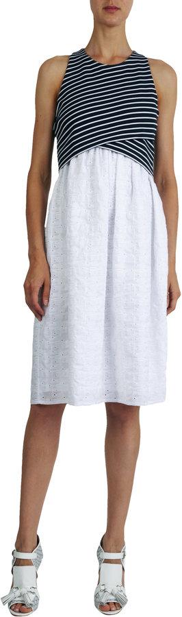 Thakoon Crossover Bodice Eyelet-skirt Dress