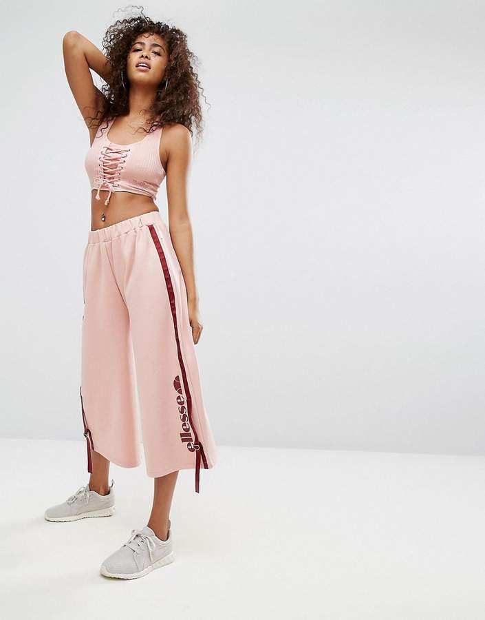 Ellesse Cropped Bralet With Lace Up Front In Rib