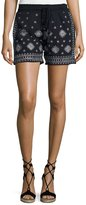 Neiman Marcus Embroidered Drawstring Shorts, Navy