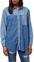 Topshop 'Elton' Colorblock Denim Shirt