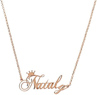 Veronese 18K Clad Personalized Polished NameCrown Necklace