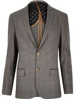 River Island Grey Check Skinny Suit Jacket