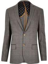 River Island MensGrey check skinny suit jacket