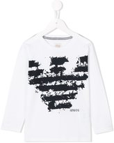 Armani Junior distressed logo printed top