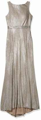 Mac Duggal Womens Novelty Mettallic Ribbed Gown