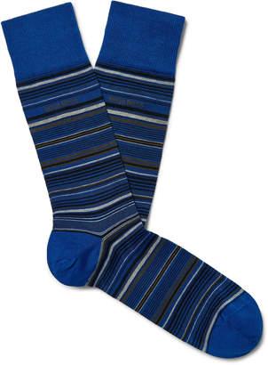 HUGO BOSS Striped Mercerised Stretch Cotton-Blend Socks