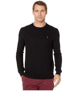 Polo Ralph Lauren Long Sleeve Textured Pima Crew Neck (Black) Men's Clothing