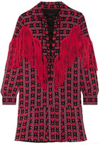 Anna Sui Fringed Printed Cotton And Silk-blend Mini Dress - Red